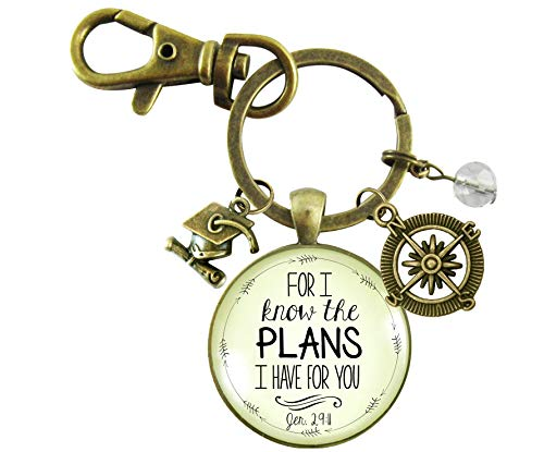 Graduation Keychain For I Know the Plans Jeremiah 29 11 Christian Gift Women's Key Ring Compass Tassel Cap Charm ()