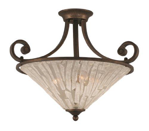 Toltec Lighting 250-BRZ-719 Curl Three-Bulb Semi-Flush Mount Bronze Finish with Italian Glass Shade, 16-Inch