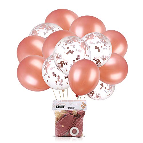 Rose Gold Balloons   Rose Gold Confetti Balloons   24 - Pack   18 Inch Premium Latex Balloons   Perfect for Rose Gold Party Decorations   Birthday Party   Bridal Shower   Baby Shower   Wedding   Engag