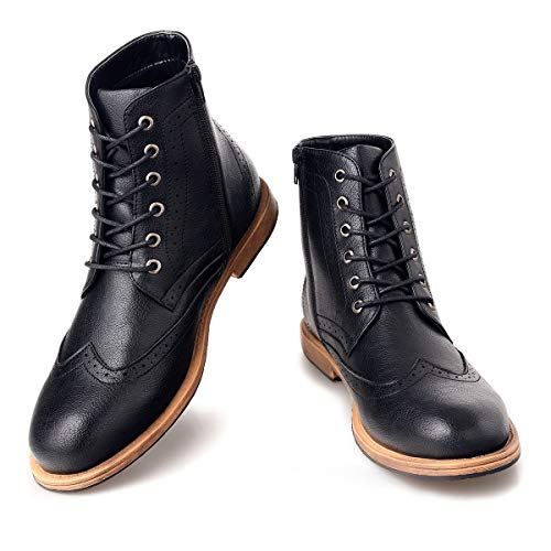 Men's Wingtip Oxford Boots Chukka-Lace-Up Zip Boots Ankle Dress Boots Work Combat Hike Black 13