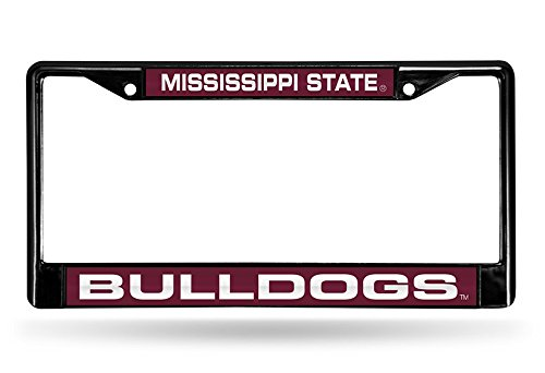 Rico Industries NCAA Mississippi State Bulldogs Laser Cut Inlaid Standard Chrome License Plate Frame, Black
