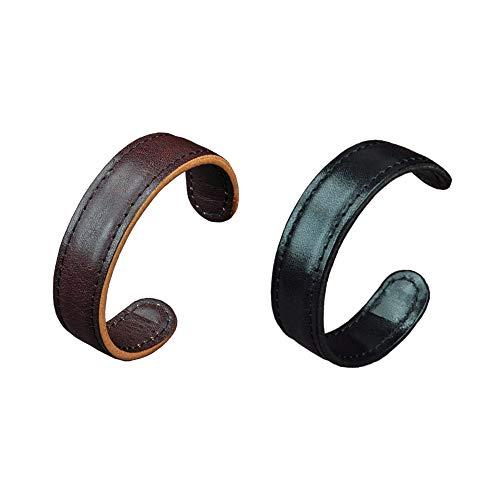 Men Leather Cuff Bangle Bracelet - Elastic Adjustable Genuine Leather Cuff Wristband,Punk Leather Wrap
