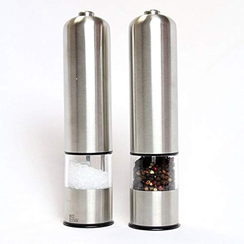 Ikee Design Stainless Steel Automatic Salt and Pepper Grinder 2 Piece Set Salt and Pepper Mills for Sea Salt, Peppercorns, Spices, Seasoning by Ikee Design