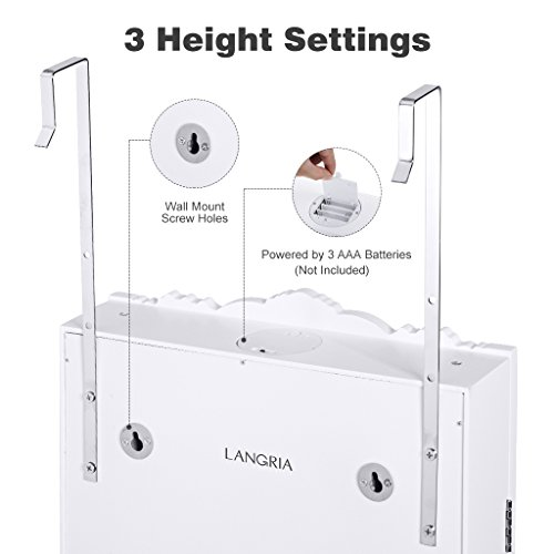 LANGRIA 10 LEDs Wall Door Mounted Jewelry Cabinet Lockable Jewelry Armoire Storage Organizer for Accessories, Carved Design, 2 Drawers, 3 Adjustable Heights, White by LANGRIA (Image #4)