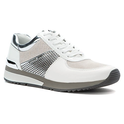 Michael Kors Womens Allie Trainer Leather Low Top, Optic White/Silver, Size - Michael Kors Tennis