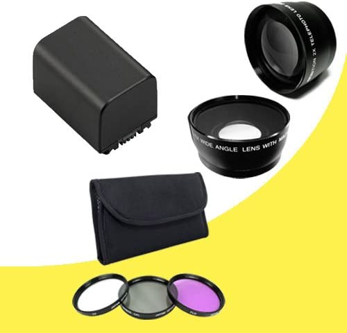 58mm Wide Angle Lens BP-819 Lithium Ion Replacement Battery 58mm 3 Piece Filter Kit 58mm 2x Telephoto Lens for Canon Vixia HFG10 XA10 HFS10 HFS20 HFS21 HFS30 HFS100 HFS200 Digital Camcorder DavisMAX BP819 Accessory Bundle