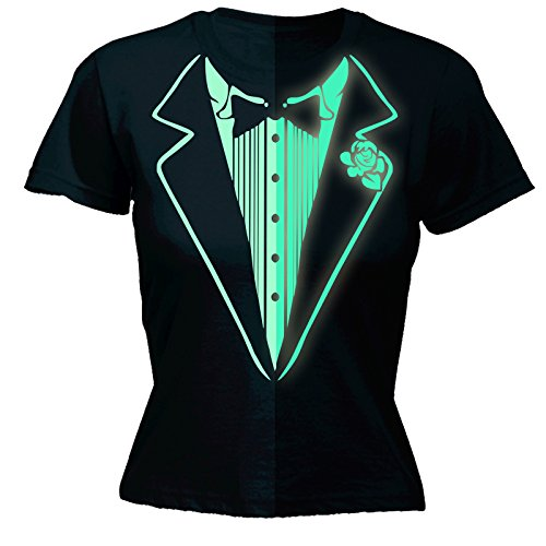 Glow In The Dark Tuxedo T-Shirt Prom Tee Luminous Fancy Dress Tux Top Party Costume (XL - BLACK) FITTED (Luminous Fancy Dress Costumes)