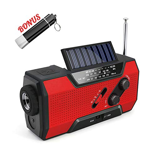 Emergency Solar Crank AM/FM/NOAA/Weather Rechargeable Radio with 2000 mAh Power Bank, Flashlight,Reading Lamp,SOS Alarm, Phone Charger for Hurricanes, Tornadoes and Storms