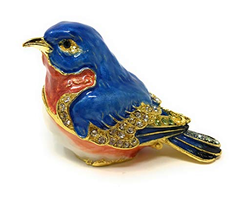 Kubla Crafts Enameled Red Breast Bluebird Trinket Box, Accented with Austrian Crystals, 2.25 Inches Long