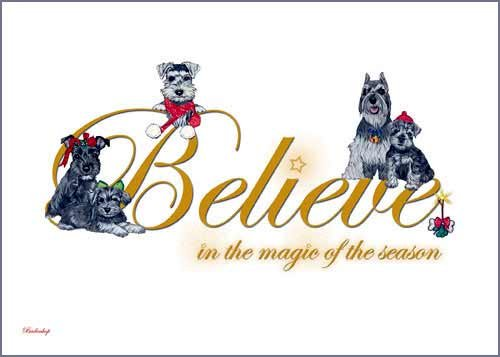 Miniature Schnauzer Dog Christmas Cards Set of 10 cards & 10 envelopes