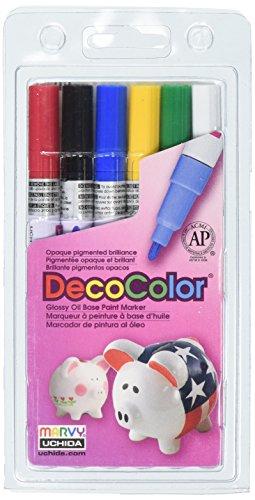 Uchida 200-6A 6-Piece Decocolor Fine Point Paint Marker -