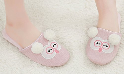 Pink Indoor Cattior Slippers Lady House Comfy Slipper Cute Womens O8qfRZ