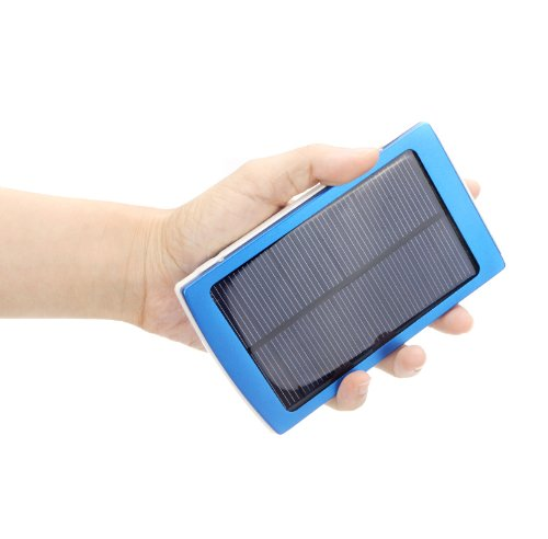 Kingzer For i Pad iPhone Samsung Smartphones 10000mAh Solar Power USB Charger Blue by KINGZER