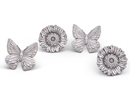 Aluminum Rings Napkin (Arthur Court Aluminum Butterflies and Flowers Napkin Ring Set of 4; Pair of Butterflies and Pair of Flowers; 3