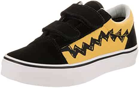8bba307f90 Vans Kids Old Skool V (Peanuts) Charlie Brown Black Skate Shoe 11.5 Kids