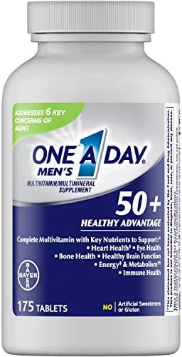 One A Day Men's 50+ Healthy Advantage Multivitamin, Supplement with Vitamins A, C, E, B6, B12, Calcium and Vitamin D, 175 Count