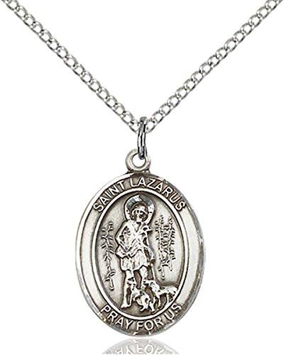 Sterling Silver Saint Lazarus Medal Pendant, 3/4 Inch ()