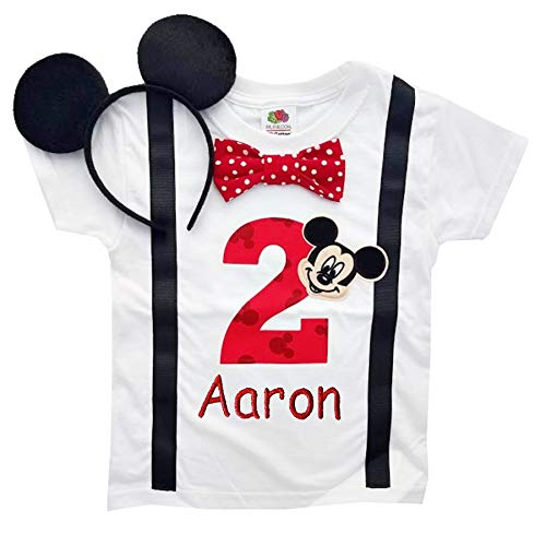 2nd Birthday Shirt Boys Mickey Mouse Tee (2T Long Sleeve, White-Black-Red Dot with Headband)