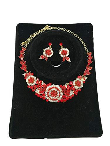 CJP Redi Color Glass Gem 17' Gold Tone Women Rosel Necklace/Earrings ()