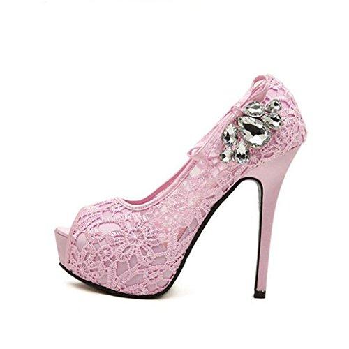 W&LM Sra Tacones altos Sandalias De acuerdo Bordado Piedras de Strass Boca de pescado Zapatos individuales Zapatos netos Pink
