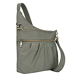 Travelon Anti-theft Signature 3 Compartment Crossbody, Pewter, One Size