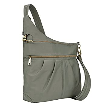 Travelon Anti-theft Signature 3 Compartment Crossbody, Pewter, One Size 0