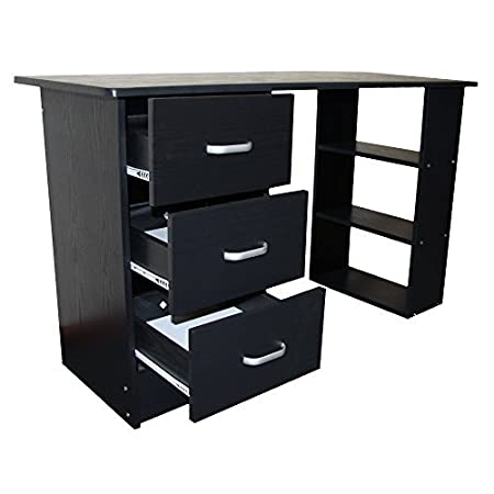 home office drawers. Redstone Black Computer Desk - 3 Drawers + Shelves Home Office Table Workstation