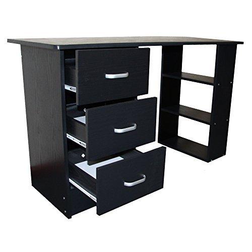Redstone Black Computer Desk - 3 Drawers + 3 Shelves - Home Office Table...