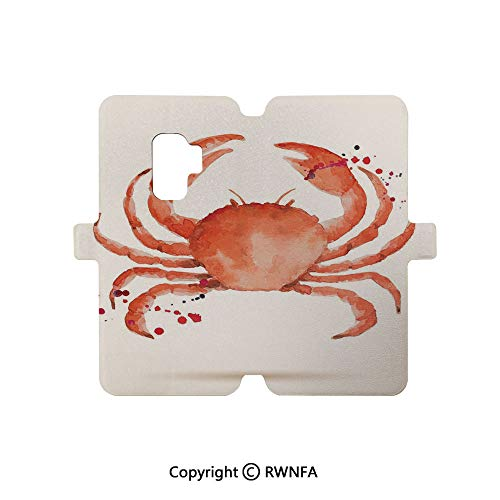 Galaxy S9 Case,Watercolor Style Effect Sea Animal Theme Pattern Illustration of Crabs Artwork Print PU Leather Full Body Protective Case Cover Magnetic Closure for Galaxy S9,Orange Teal]()
