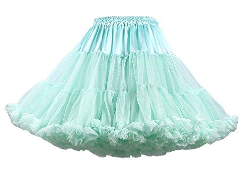 Femme Vintage Jupe en Tulle Ballet Tutu Elastique Robe au Genou Pettiskirt Princesse Plisse Taille Haute Lumire Vert