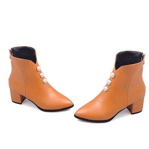 Allhqfashion Women's Zipper Pointed Closed Toe Kitten-Heels PU Low-Top Boots Yellow PqDnv