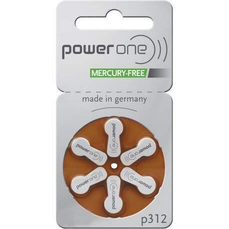 PowerOne Mercury Free Size 312, 2 Pack (60 Batteries) by PowerOne