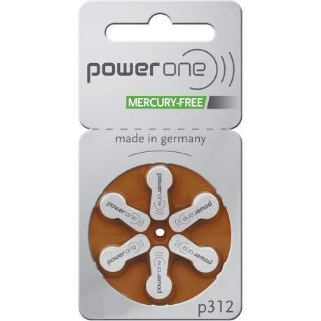 Hearing Aid One - Power One Size 312 MERCURY FREE Hearing Aid Batteries (2Pack (60 Batteries))