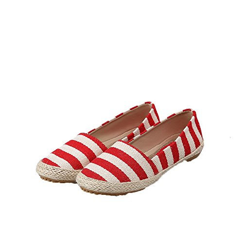 Odomolor Women's Stripe Fabric Low-Heels Pull-On Round-Toe Pumps-Shoes, Red, 36