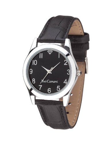 Yves Camani Durance Silver/Black 33mm Women's Quartz Watch with Black Dial Analogue Display and Black Leather Strap YC1058-B