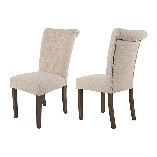 Merax Luxurious Fabric Dining Chairs with Solid Wood Legs Se