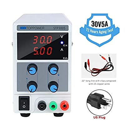 DC Power Supply Variable, Adjustable Switching Regulated Power Supply Digital, with Alligator Leads US Power Cord Used for Spectrophotometer and lab Equipment Repair (0-30V 0-5A)