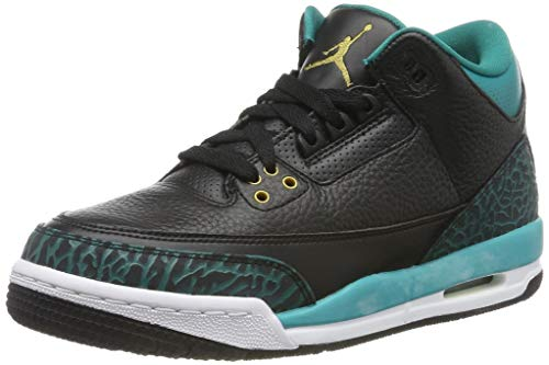 (Jordan Nike Kids Air 3 Retro Gg Black Leather Basketball Shoes, Black / Metallic Gold-Rio Teal-White, 5 M Us Little Kid)