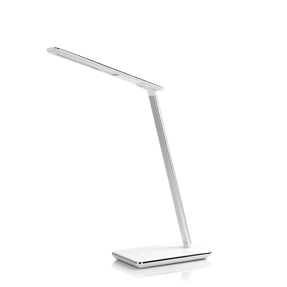 Enlody WD102 LED Desk Lamp with Wireless Charger, USB Charging Port, Touch Control, Timer Power Off, Adjustable 4 Color Temperature Modes and 6 Level Brightness (White)