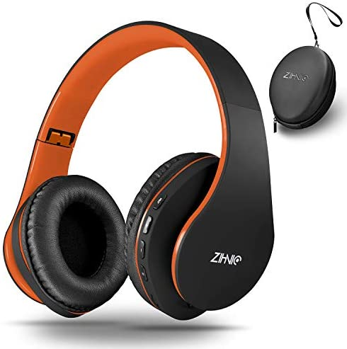 Bluetooth Over-Ear Headphones, Zihnic Foldable Wireless and Wired Stereo Headset Micro SD TF, FM for iPhone Samsung iPad PC TV,Soft Earmuffs Light Weight for Prolonged Wearing Black-Orange