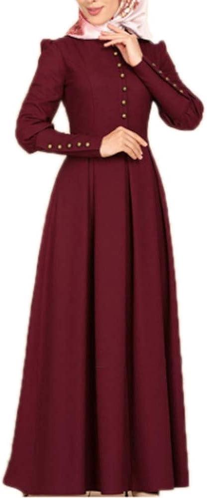 Button Decoration Vintage Long Sleeve Islamic Arabic Indian Dubai Kaftan Middle East Robe Gown keepmore Muslim Dresses for Women