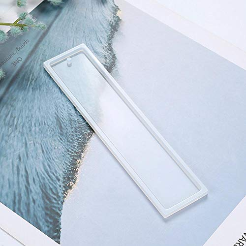Auveach Clear Rectangle Silicone Mold with Hole DIY Epoxy Resin Pendant Bookmark Craft Making Tool