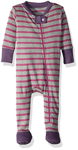 Burt's Bees Baby - Baby Girls' Sleeper Pajamas, Zip Front Non-Slip Footed Sleeper PJs, 100% Organic Cotton