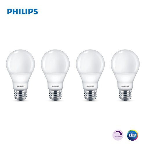 Phillips LED Dimmable A19 Light Bulb with Warm Glow Effect 800-Lumen, 2200-2700 Kelvin, 9.5-Watt (60-Watt Equivalent), E26 Base, Frosted, Soft White, 4-Pack ()