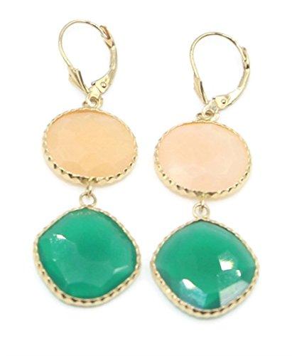 Onyx Green and Carnelian Fancy Earrings 14k Yellow Gold Leverbacks (Carnelian Earrings 14k)