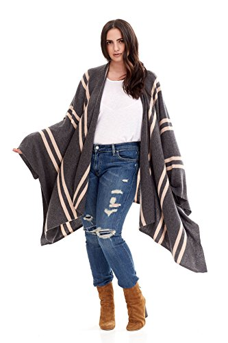 NAKEDCASHMERE Women's Adele Wrap O/S Charcoal/Nude Stripes by NAKEDCASHMERE