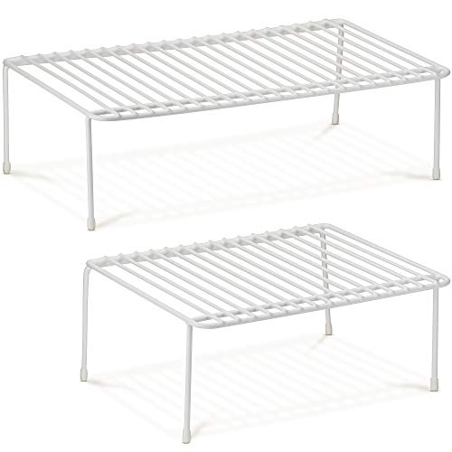 DecorRack Set of 2 Counter Helper Wire Shelf, Kitchen Cabinet Shelf Organizer, Closet and Pantry Storage Extra Rack, Freezer Instant Space Organizer, Steel with White Plastic Coating