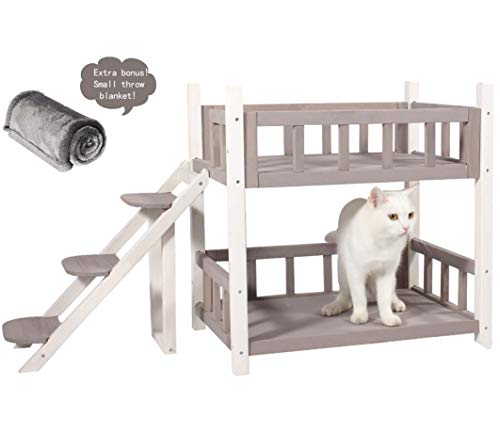ROCKEVER Wooden Pet Bunk Bed Indoor,Dog Bed Small for Two Pets
