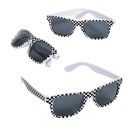Fun Express Race Car Checkered Flag Print Sunglasses,Black,white - 12 Piece Pack