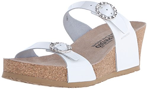 Mephisto Womens Lidia Platform Dress Sandal White Patent
